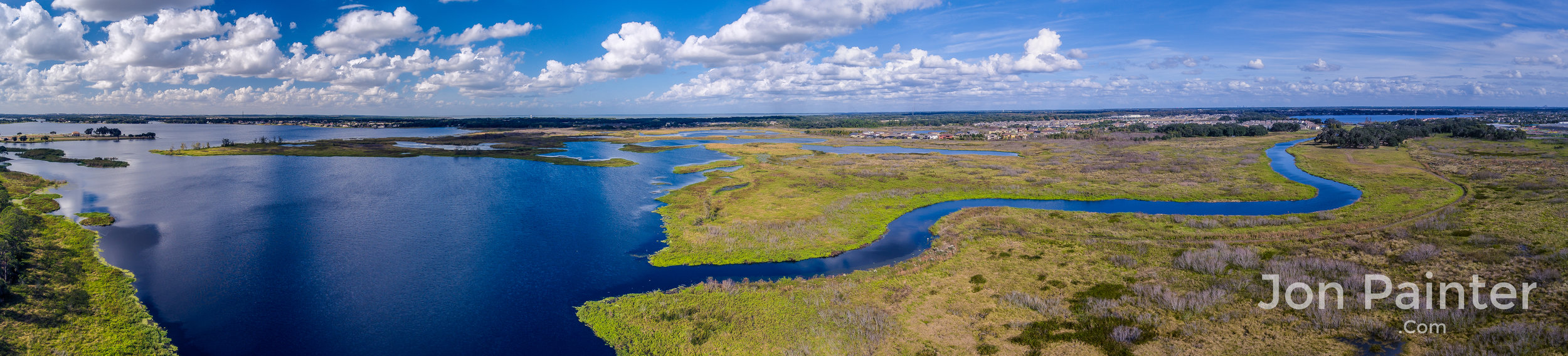 A panorama of Florida waterways from a drone