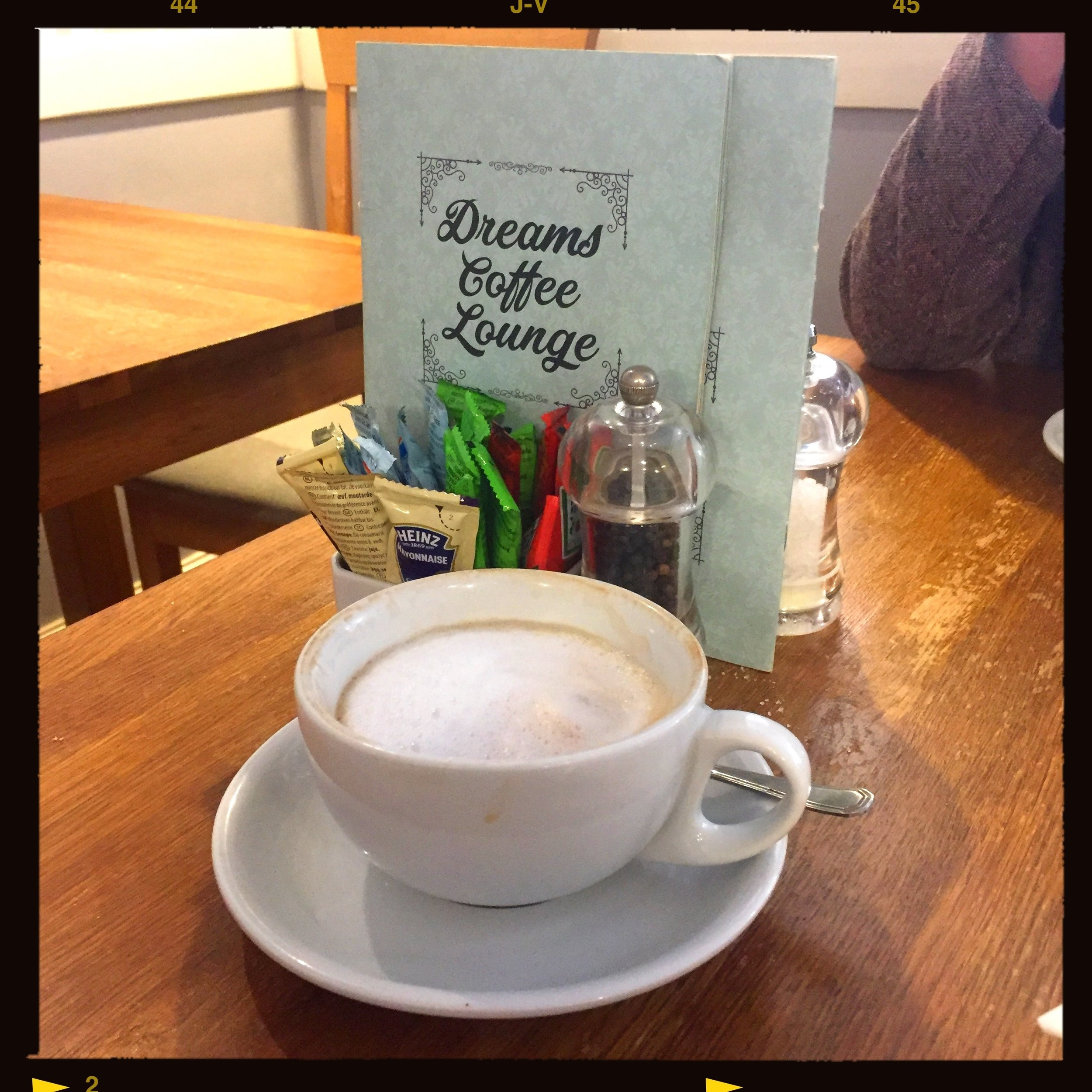 Saying goodbye to my dear, departed friend Stephen Loveless, at the Dreams Coffee Lounge, Northampton, UK