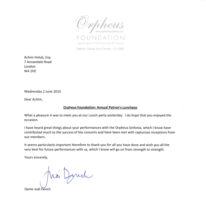 Thank-you-Letter by Dame  Judi Dench  who is together with Sir Antonio Pappano Patron of the Orpheus Sinfonia London.
