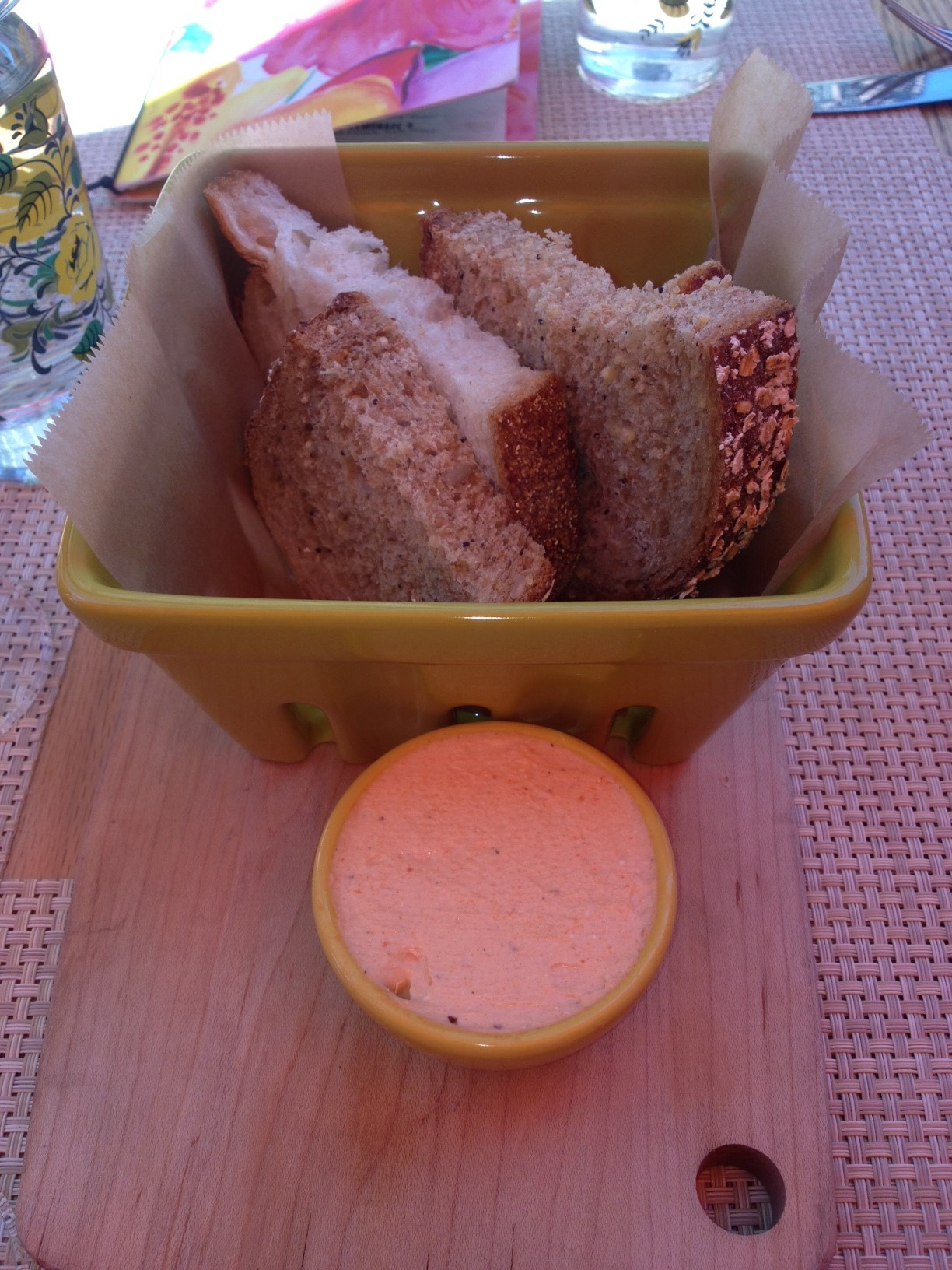 Bread - don't you love the ceramic fruit carton - again, Anthropologie for the win!