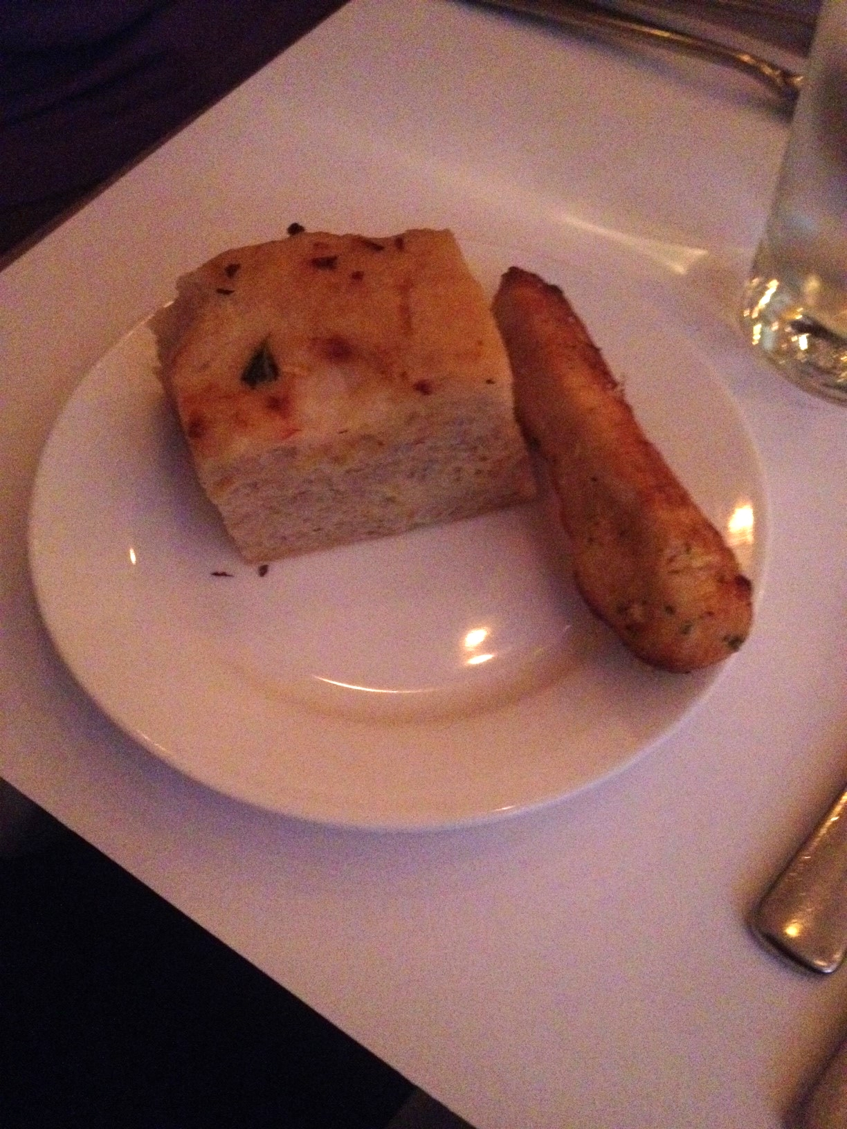 Complimentary Bread - chose focaccia and a breadstick