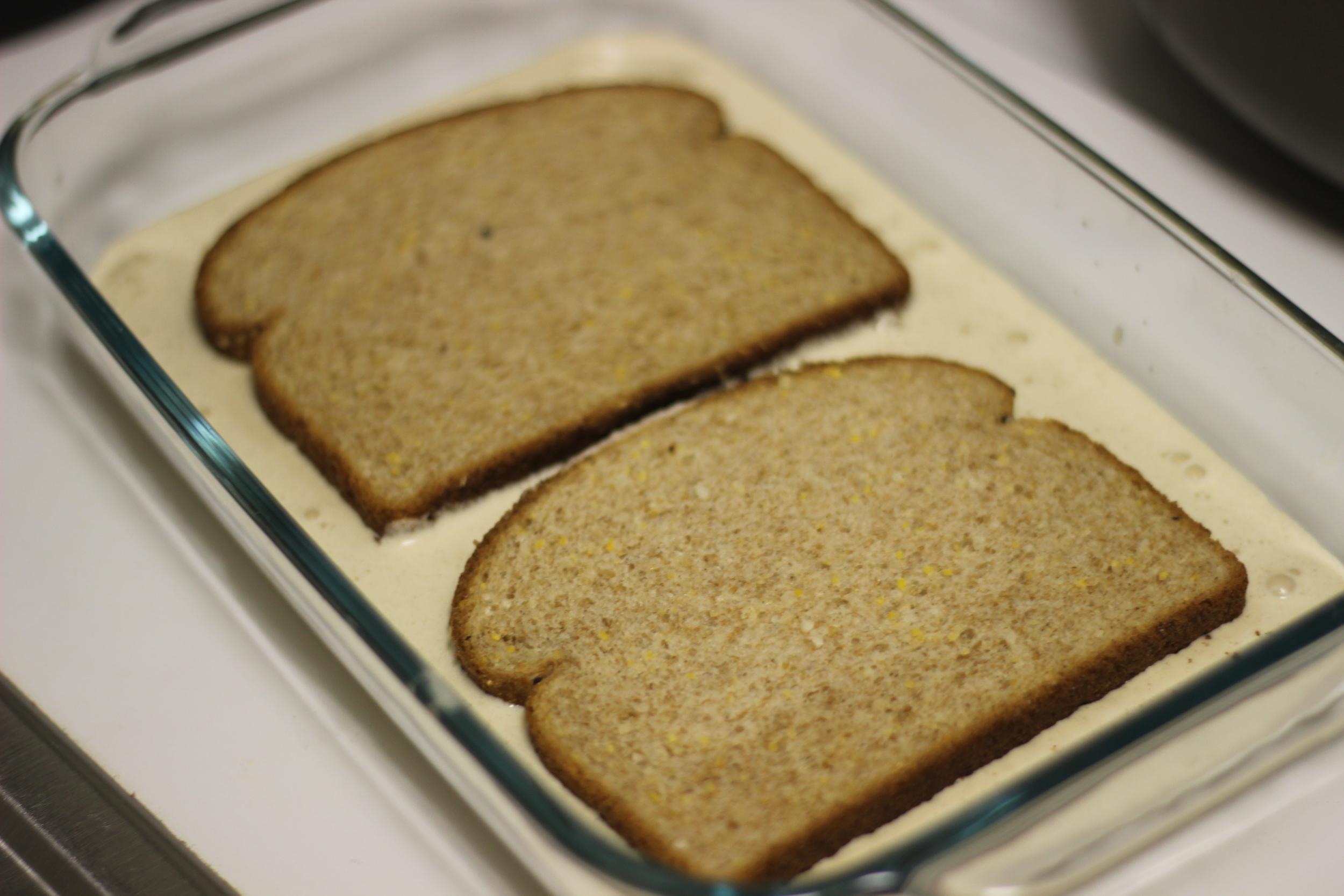 The bread slices need to soak up that deliciousness!