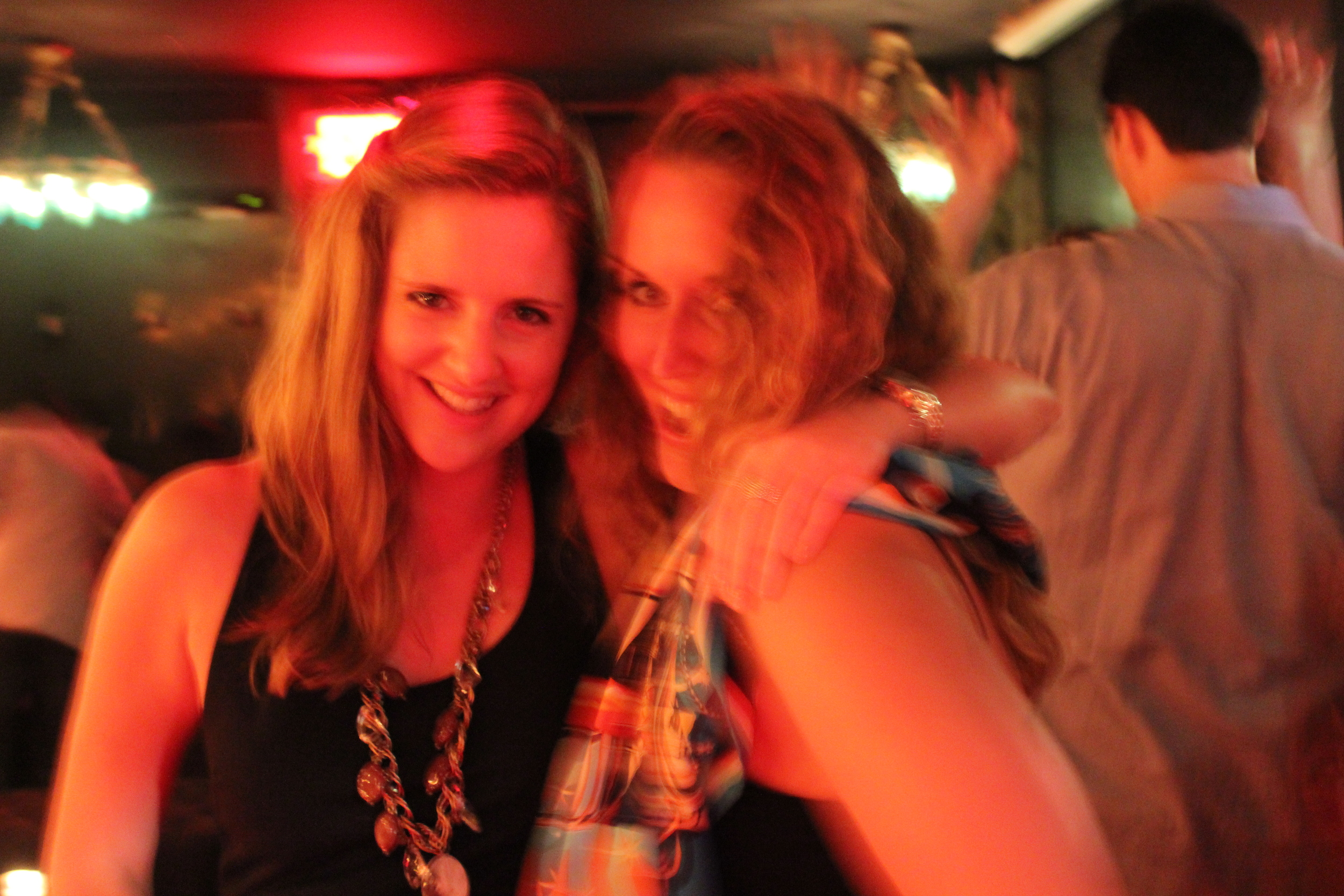 A bit blurry - accurate summary of the evening. Miranda (right) and her friend Brittany