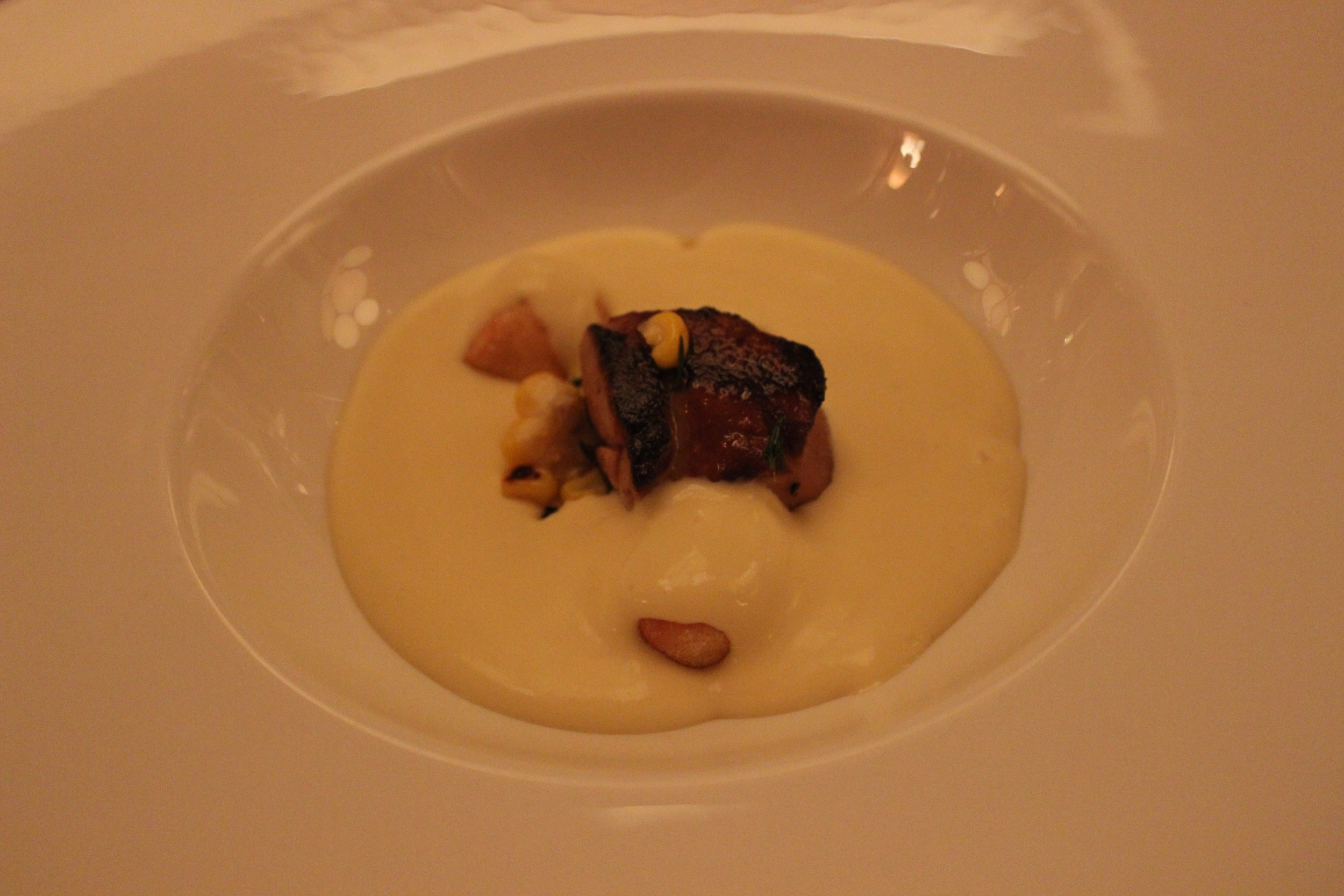 Chilled Sweet Corn Soup, Roasted Foie Gras, Crispy Gnocchi