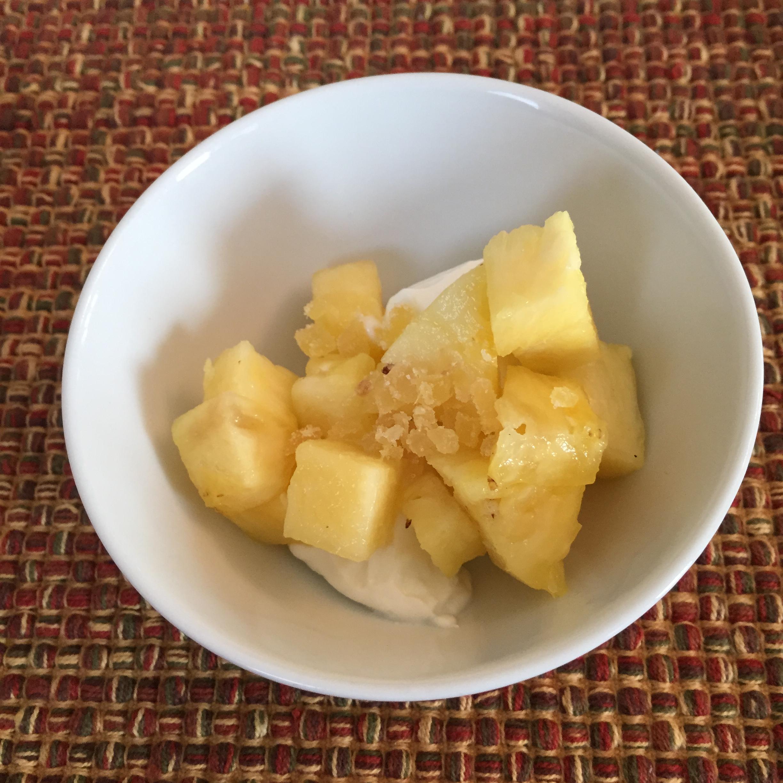 Pineapple, Crystallized Ginger and Vanilla Yogurt = YUM