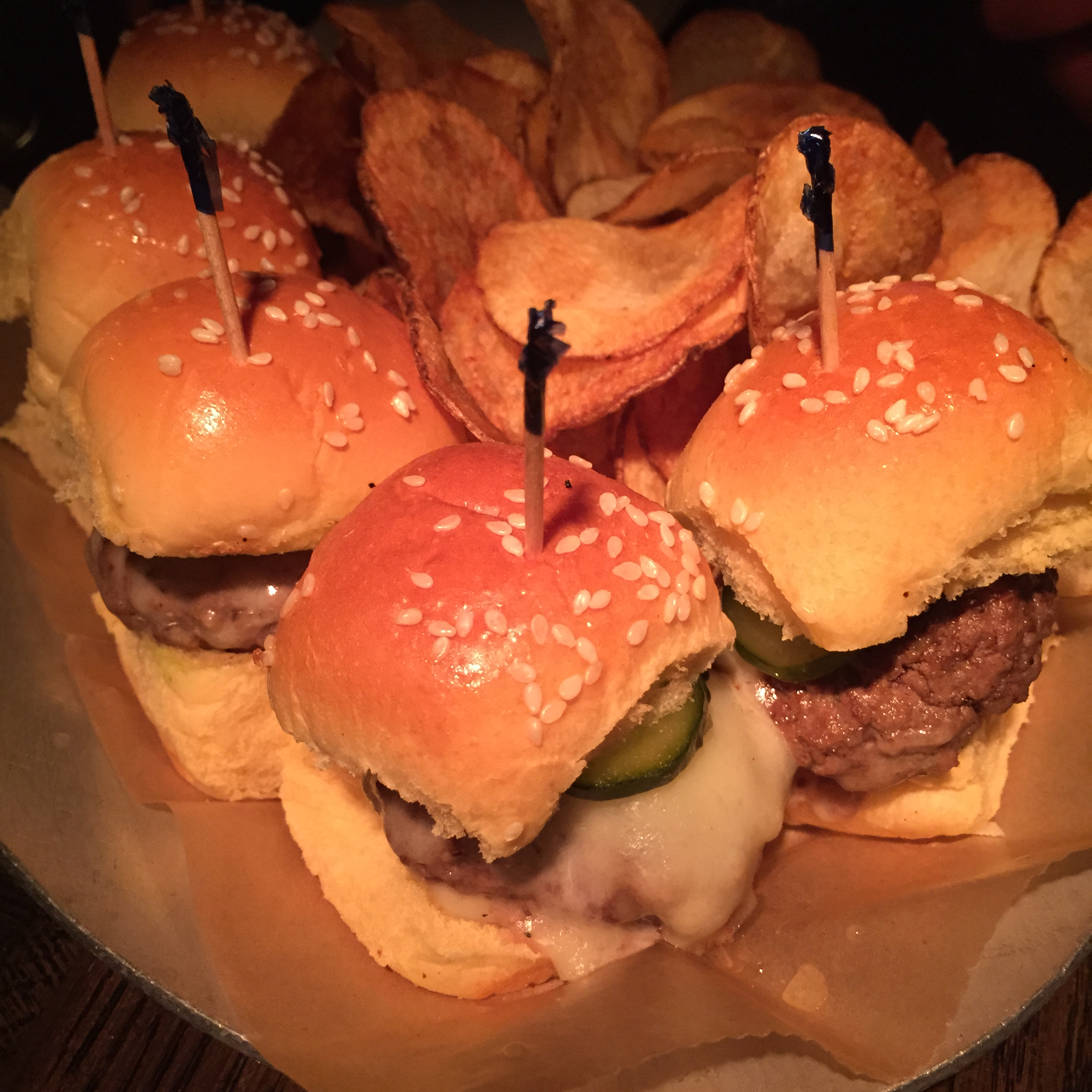 Kobe Sliders with Cheddar and Pickles