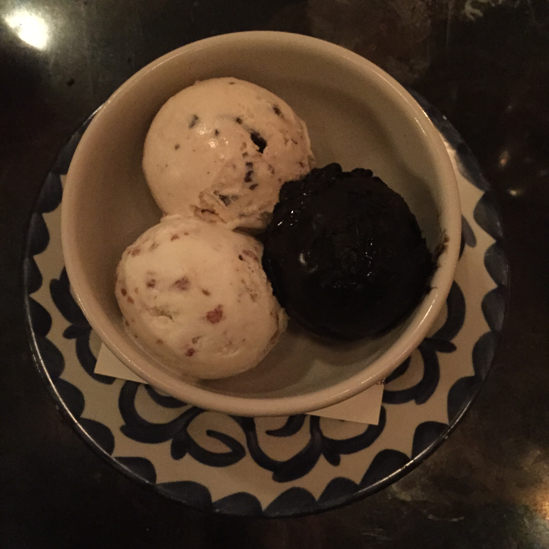 Gelati: Black Fudge (the dark one, not good), Mint-Hazlenut and Burnt Croissant Stracciatella Gelato