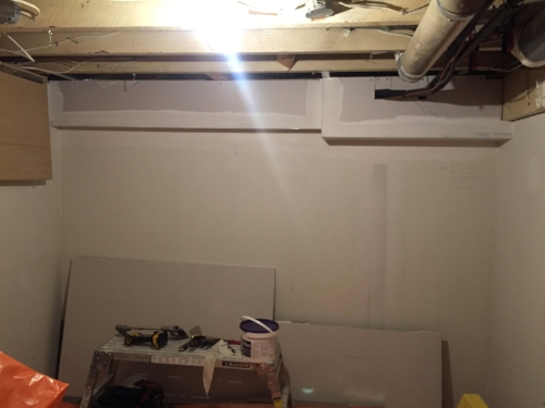 FRAMING & DRYWALL: As a Designer, I try to avoid bulkheads whenever possible. However, due to some  very  unsightly wires, they were necessary in this case.