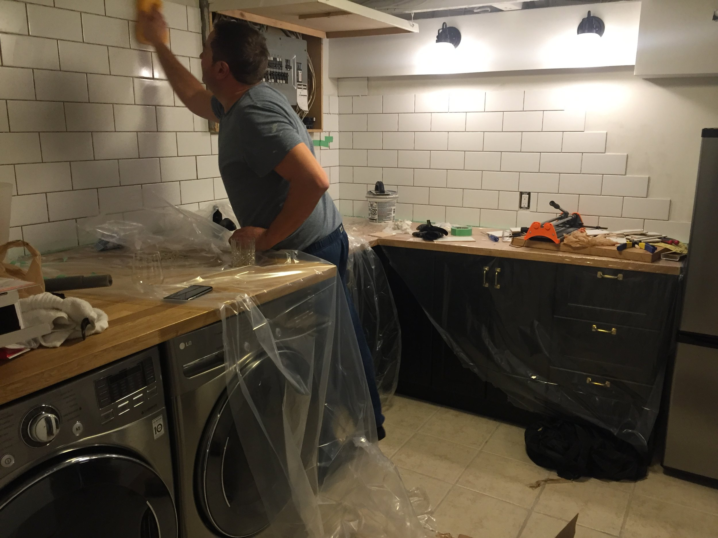 Time for some grouting & finishing touches & we're almost there! We chose a bright white grout - more forgiving than a dark colour especially for my husband's first time !