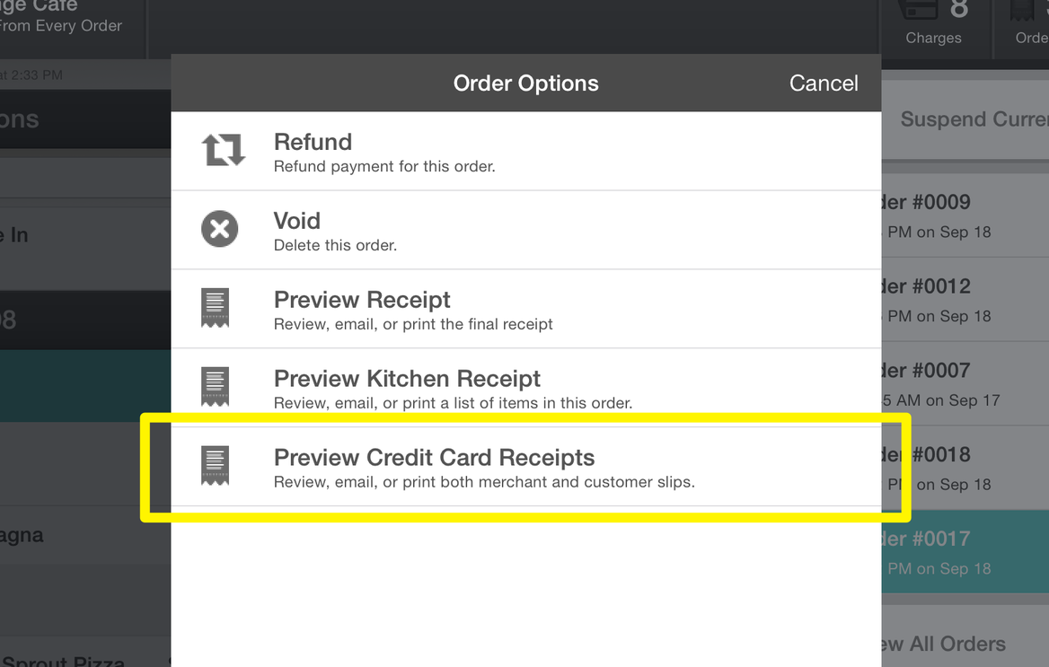 Preview Credit Card Receipts