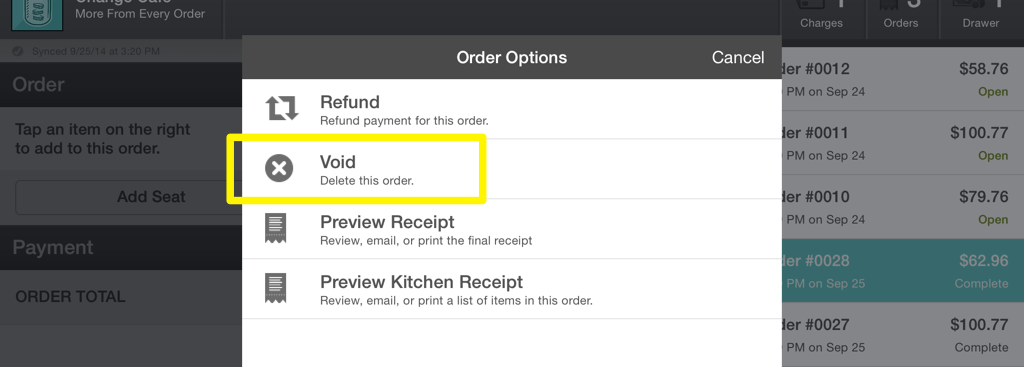 Order Options Void