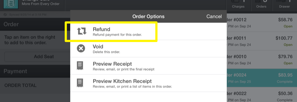 Order Options Refund