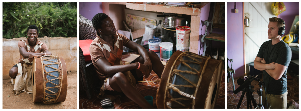 This is Lusekwane, the talented player of a traditional drum named the Ingulube.