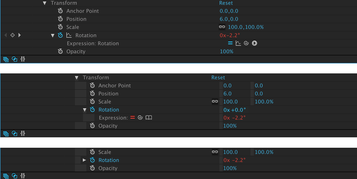 Top:  Original   Middle:  New Layout, show unaffected value   Bottom: C ollapsed property, show expression value.