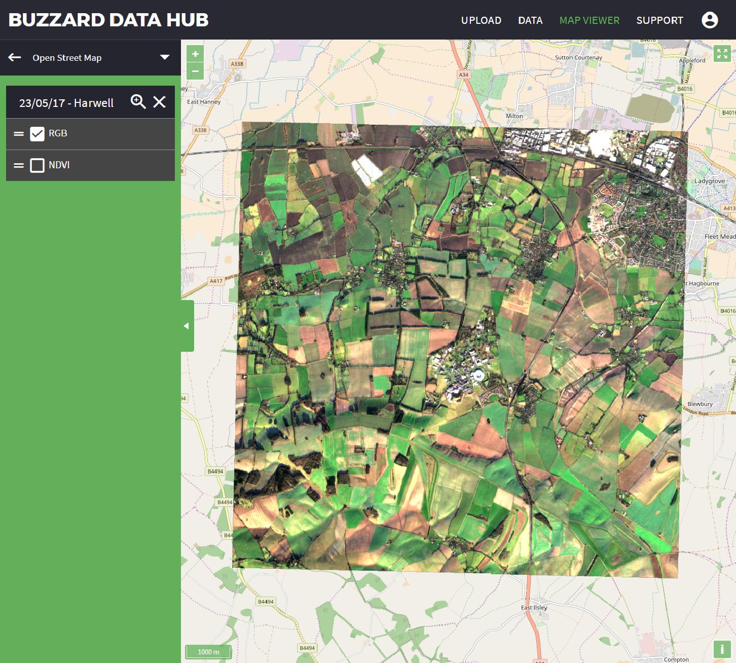 Buzzard Data Hub Desktop view.