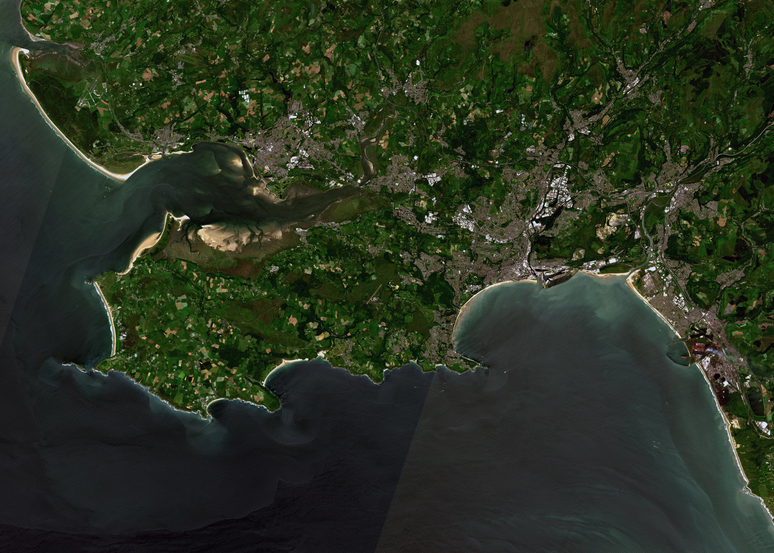 Buzzard Data Hub ESA Sentinel2 Satellite Image of the Gower, Wales.