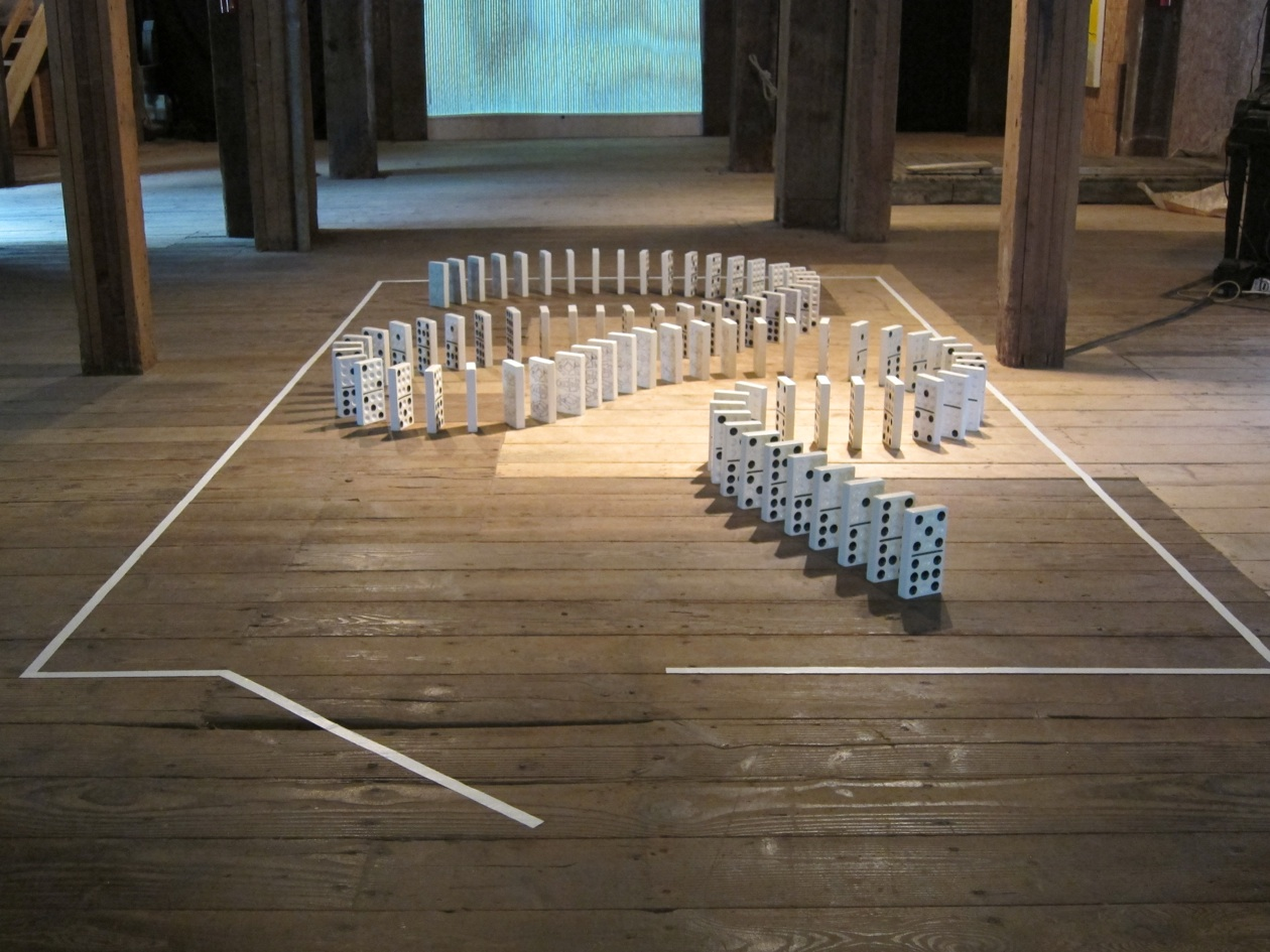 """Mischief in the Boneyard II, porcelain, each piece 4"""" x 1"""" x 7"""", overall dimensions variable, 2012"""