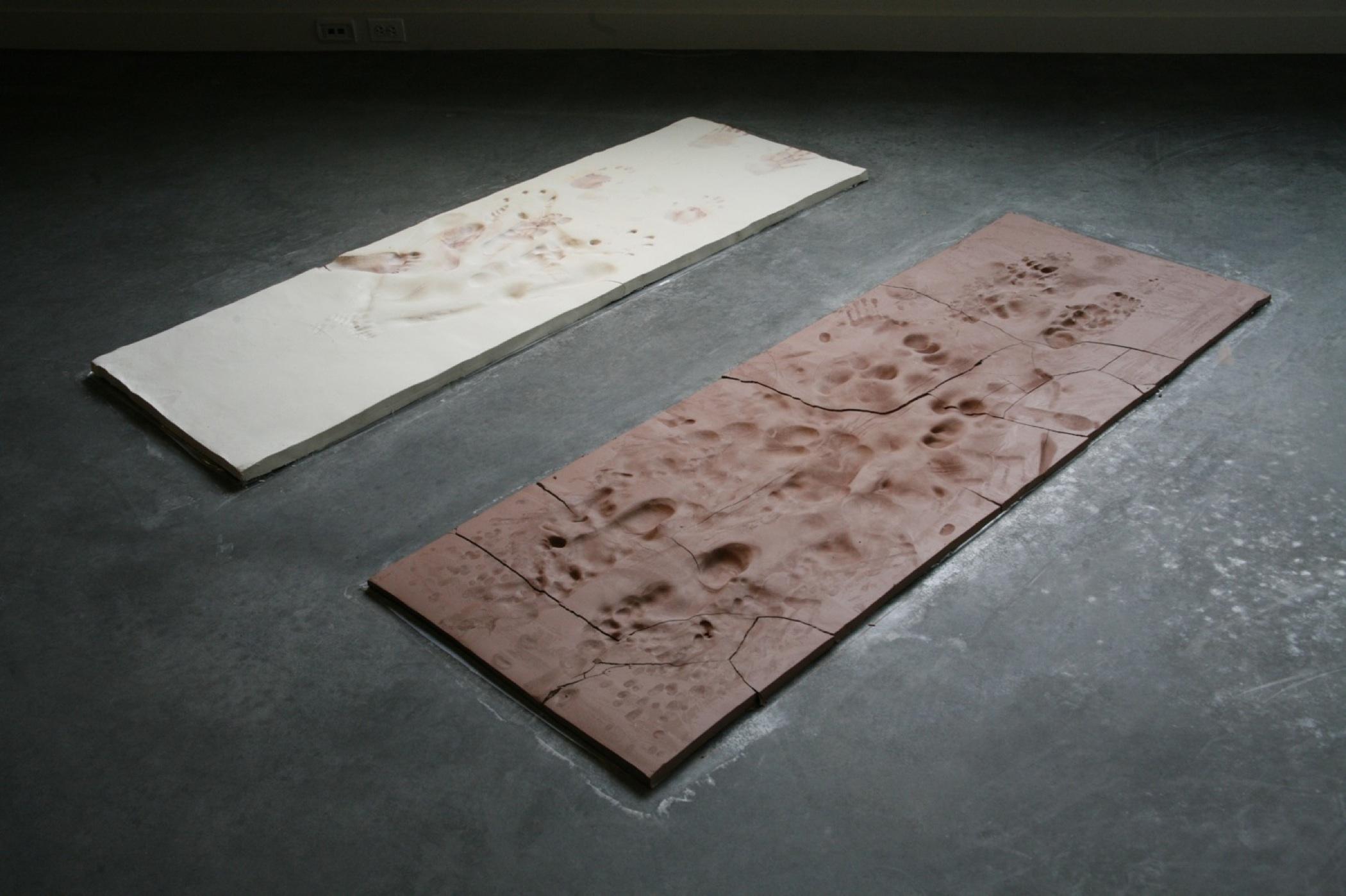 "Morning Ritual, unfired earthenware & porcelain, 66"" x 60"" x 1"", 2009"