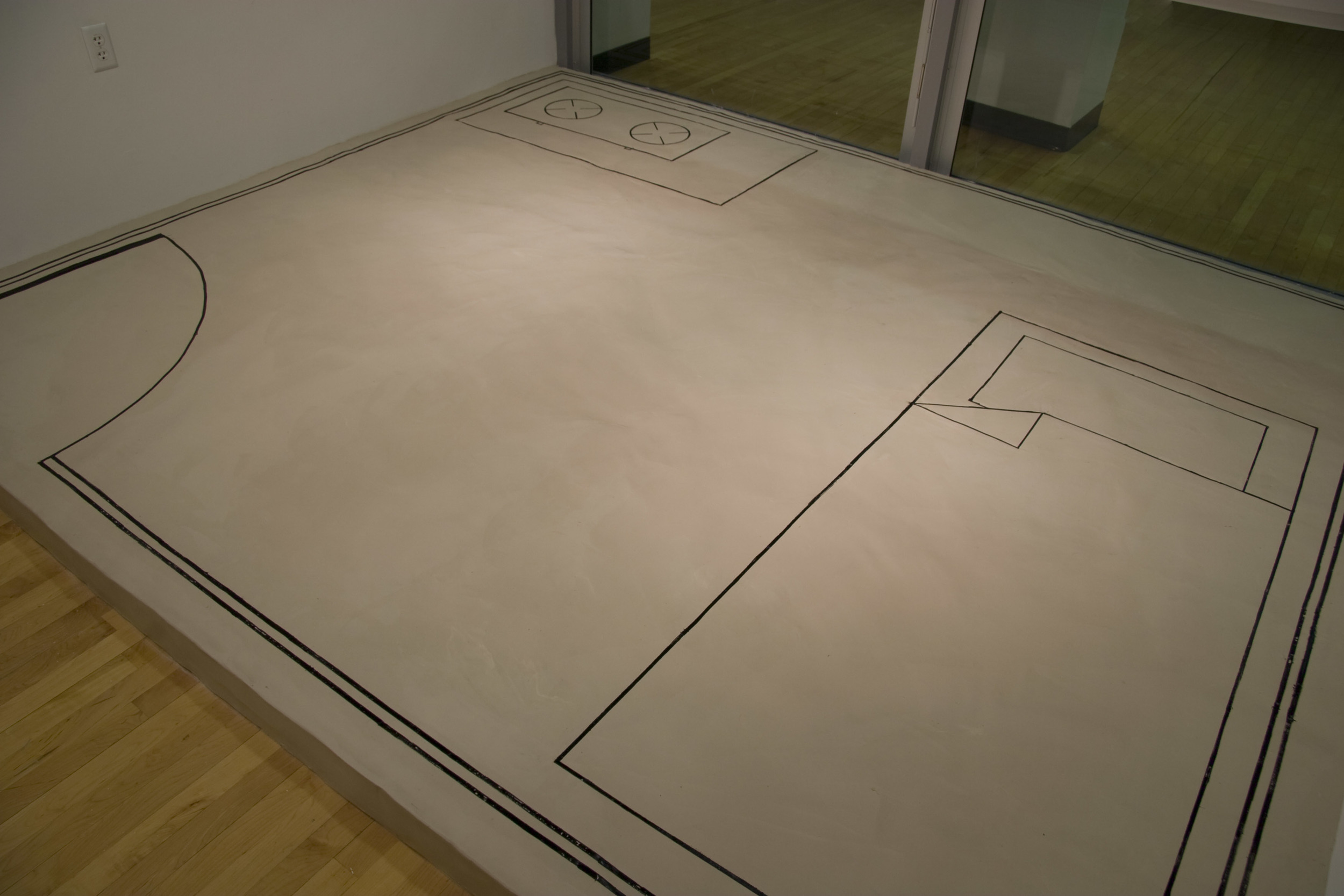 "Blueprint: Lohar Home, Mumbai, unfired porcelain & acrylic ink, 9' x 10' x 5"", 2009"