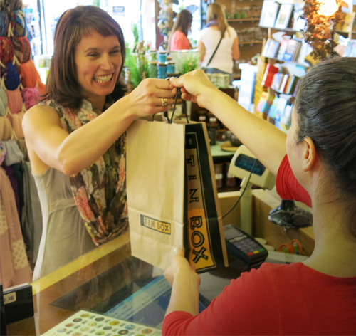 Shopping with a smile at the Canmore store.