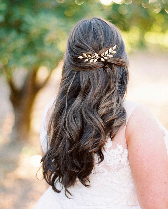 It was so neat to see my wedding day hairstyle featured on @martha_weddings Instagram feed a few days back! I really loved the way it wasn't too overdone and felt like me. Thanks for this gorgeous glowing photo, @kaylayestal I don't know how you make even the back of a head look so good 😂  Hair by @devotionstudiosebastopol  Hair piece by SarasBoutique on Etsy