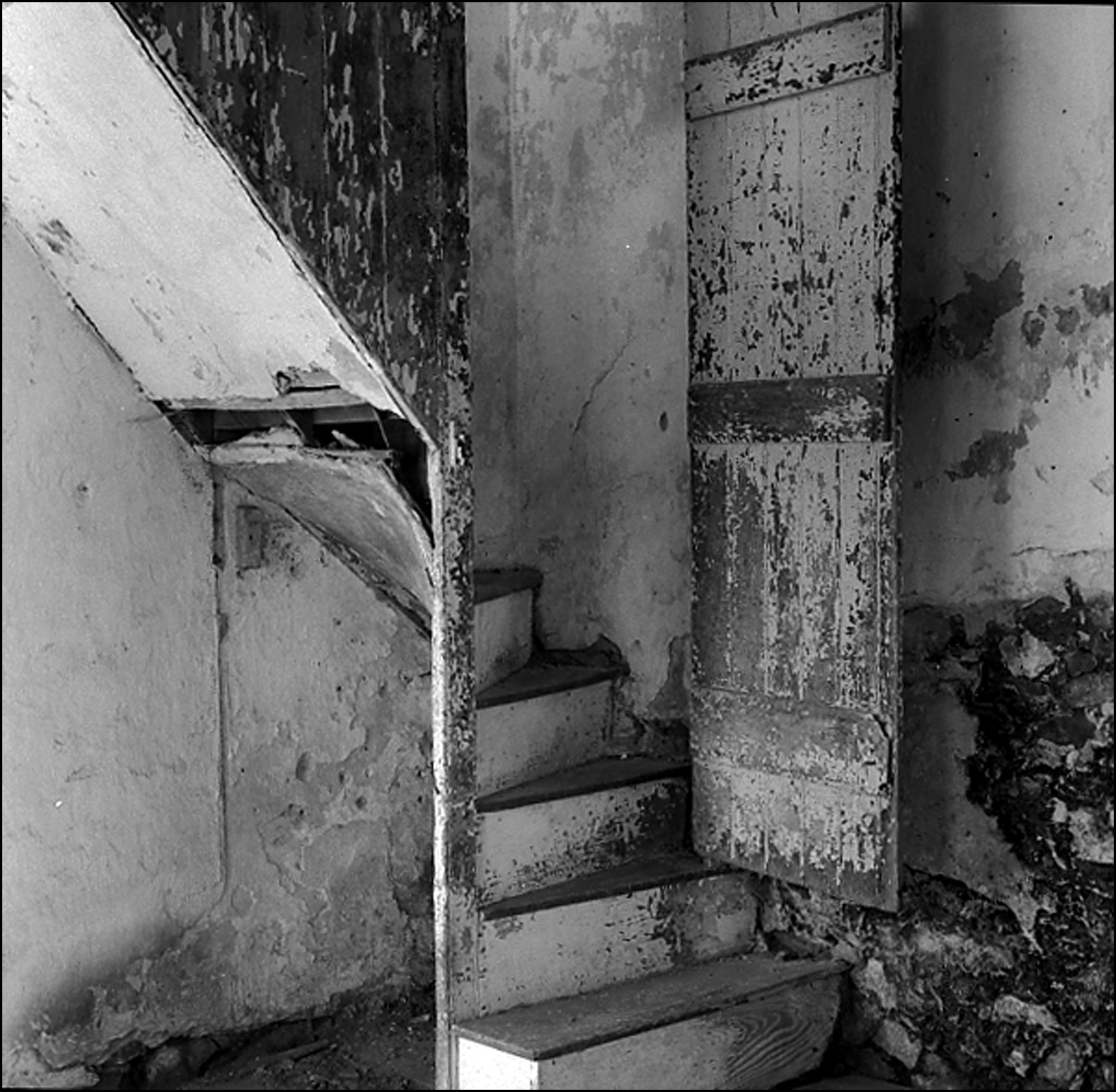abandoned house stairway