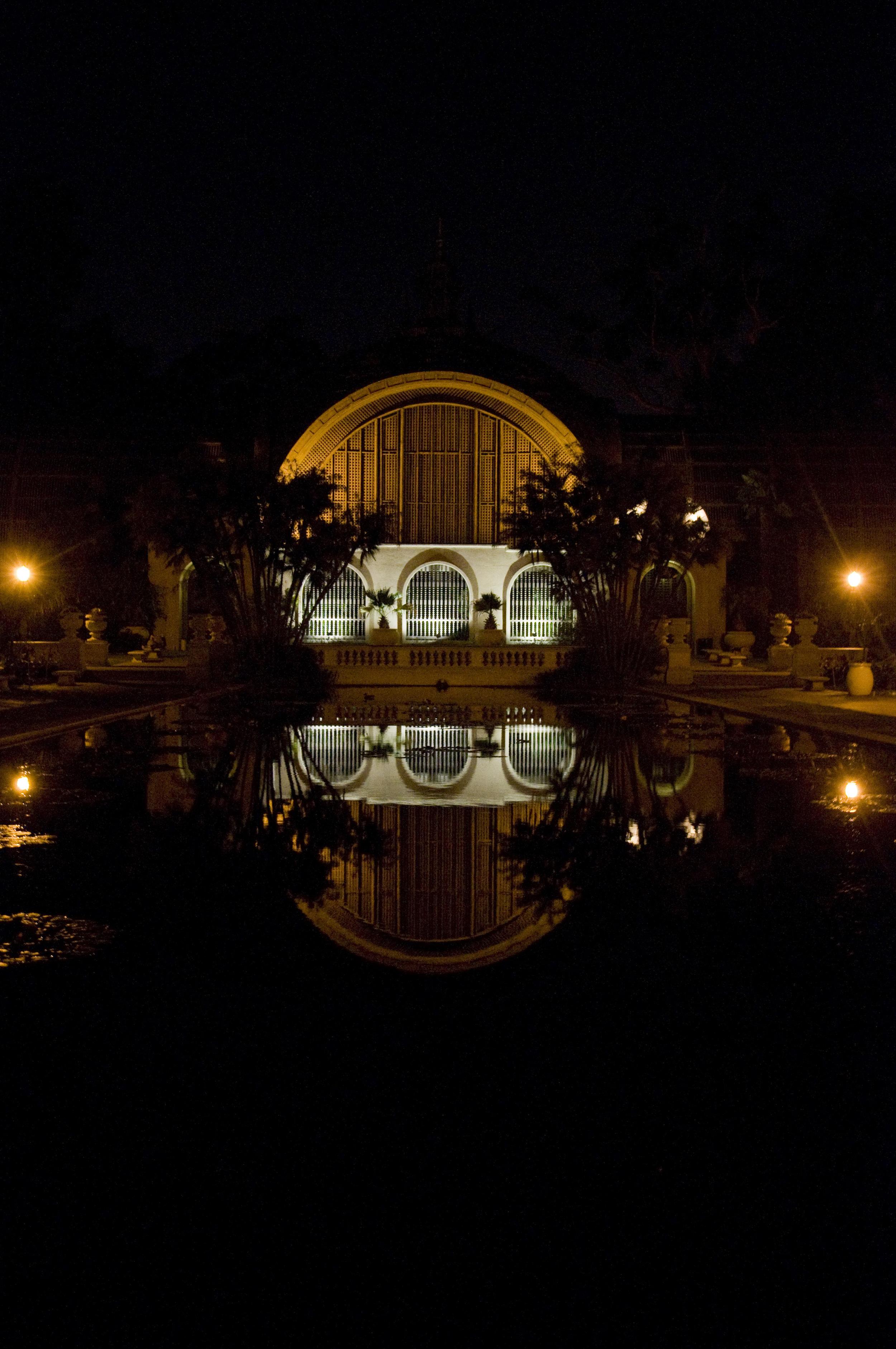 Botanical Hall at Balboa Park at night