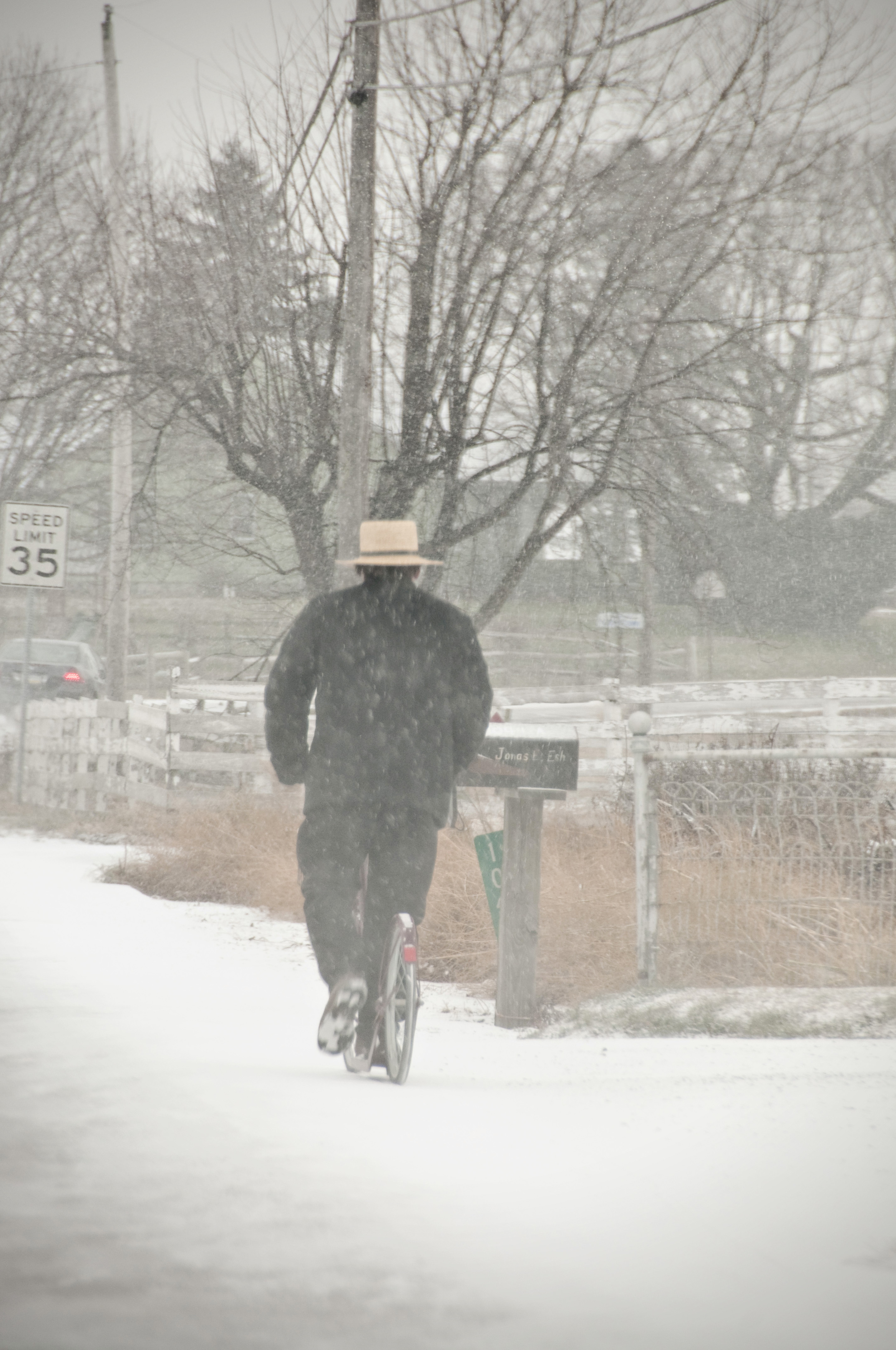 Amish scooter in snow
