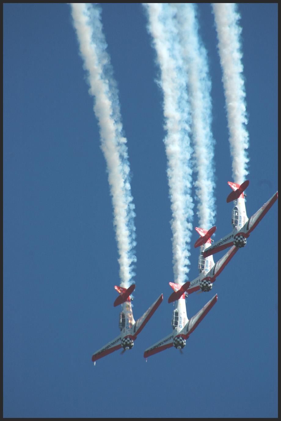 Aerobatic display straight down