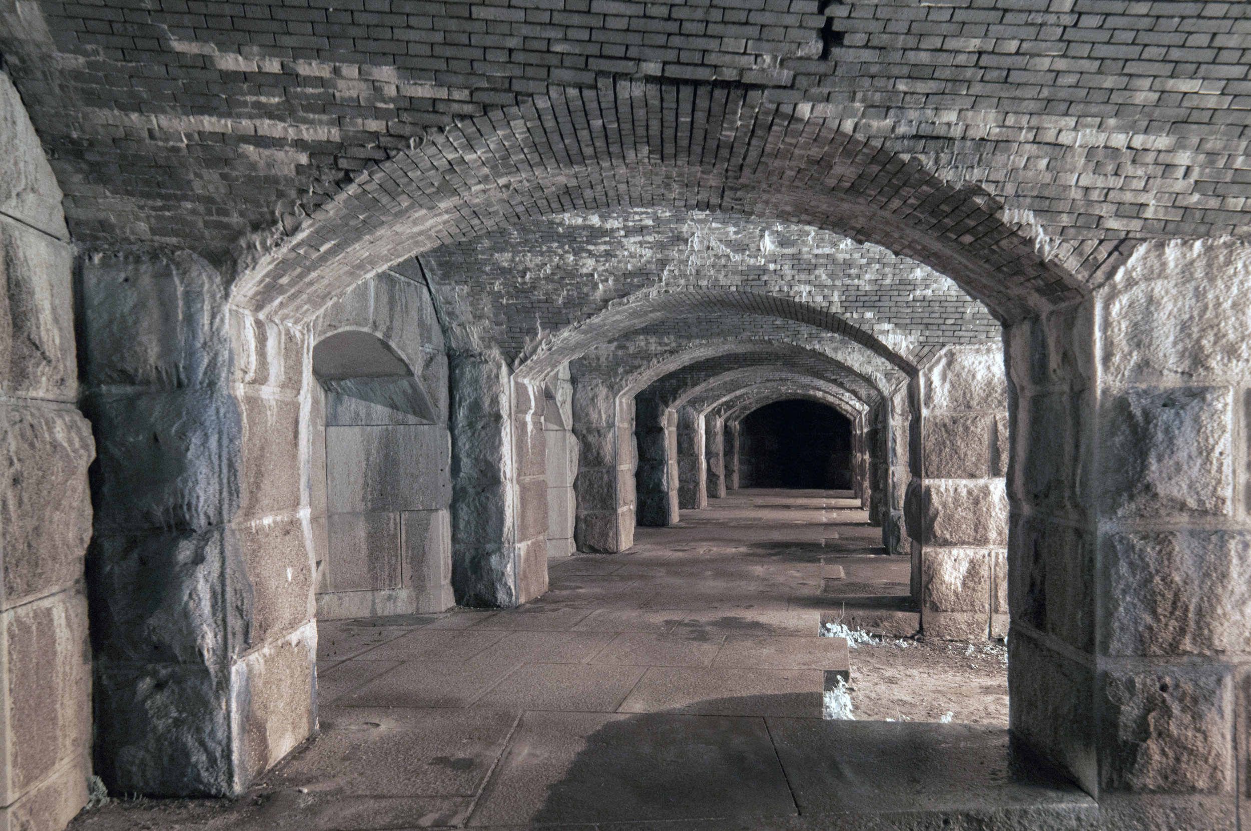 infrared of Fort Popham, Main