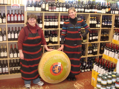 Kelly and Valda, with an 86 kilogram wheel of French Emmental