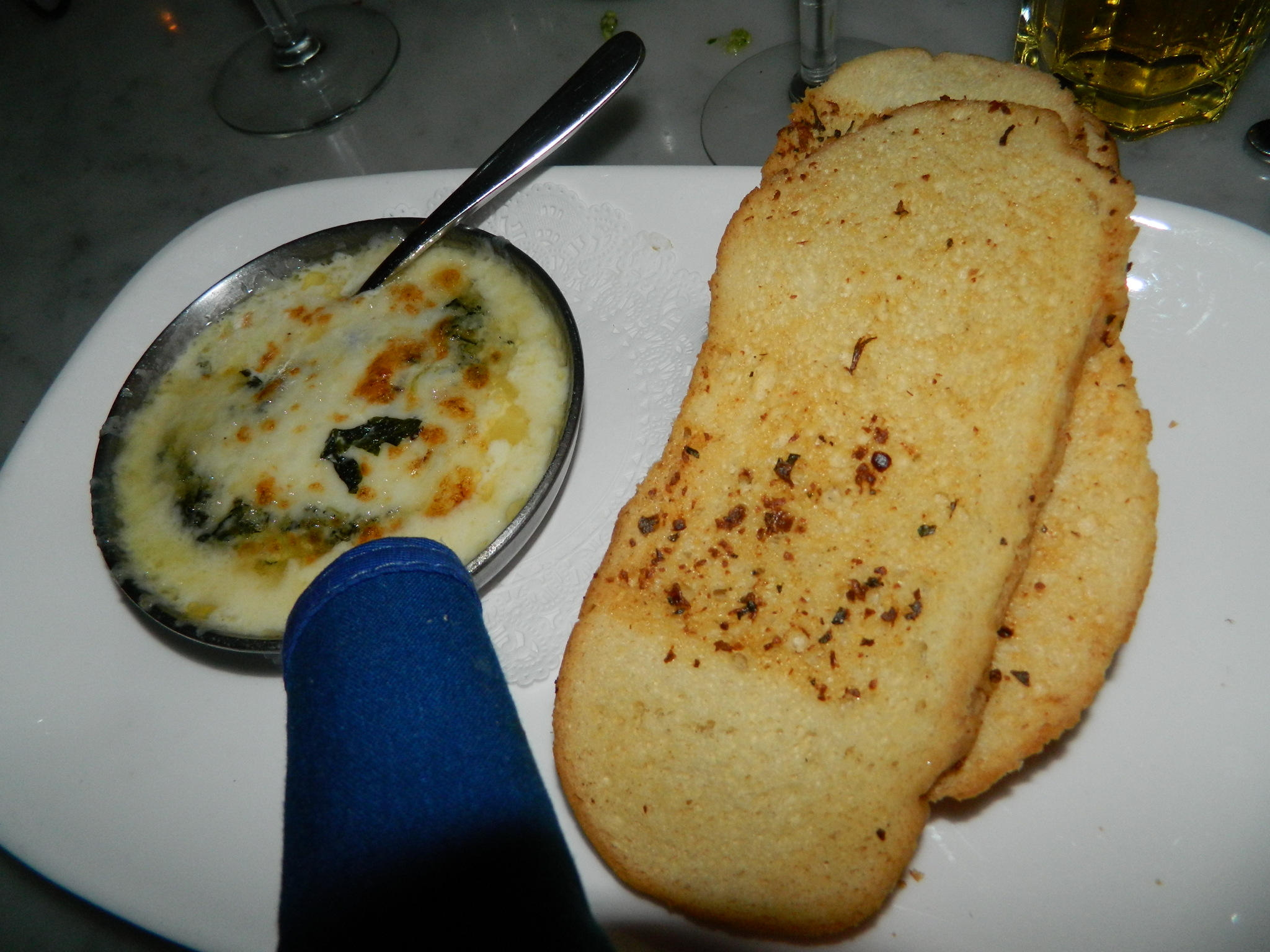 The Stinking Rose's take on Fondue, Garlic Spinach Fontina Fondue.