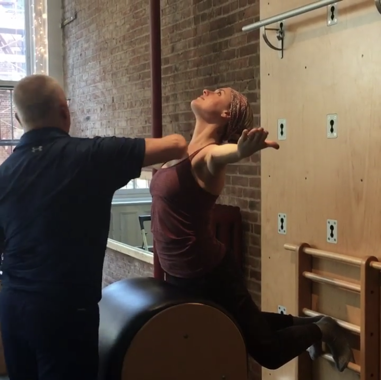 Alison, in session with the late master Pilates instructor, Bob Liekens.