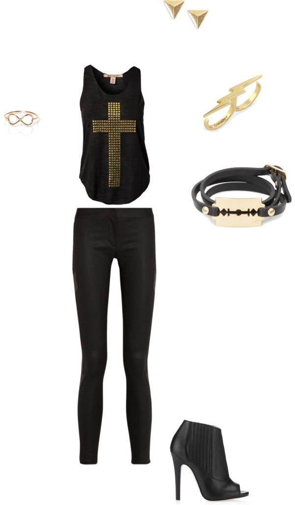 Black and Gold Edgy Women's Outfit Inspiration {OKC Portrait Photographer}