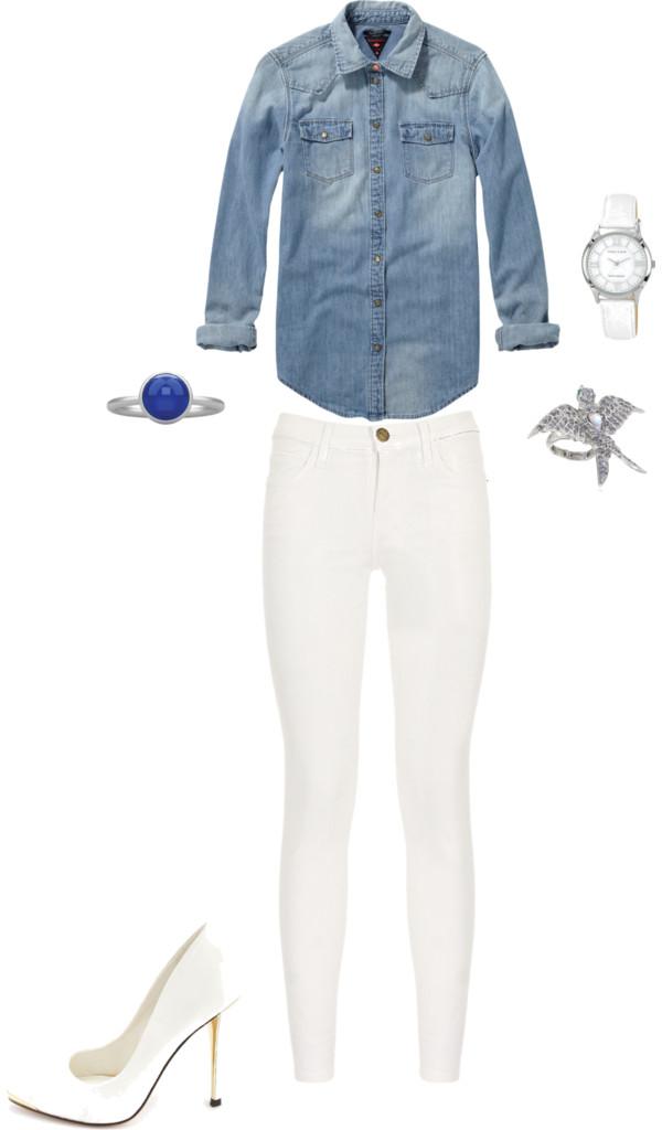 Women's Fashion | White Pants & Denim Shirt {OKC Portrait Photographer}