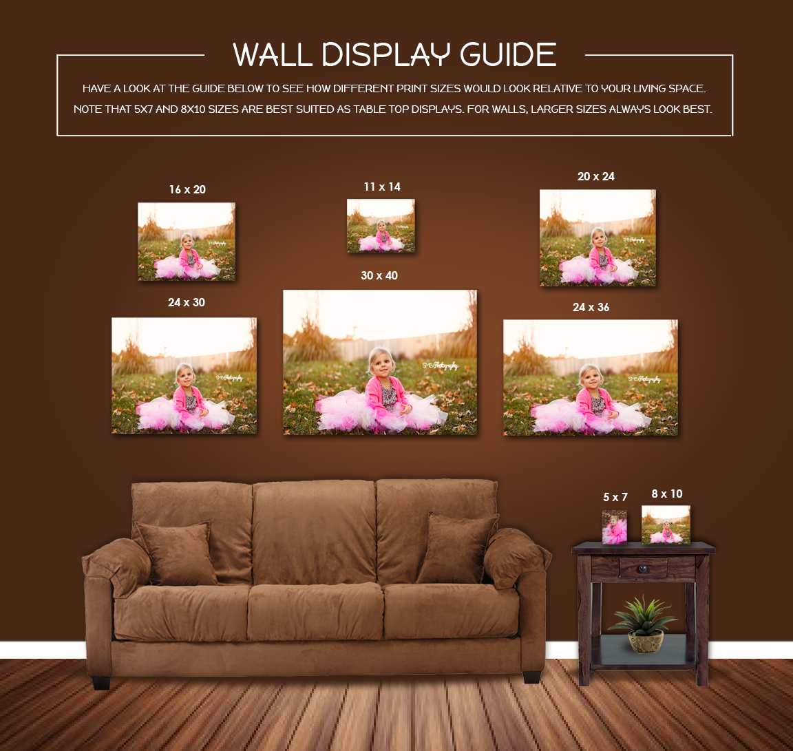 Wall portrait display guide