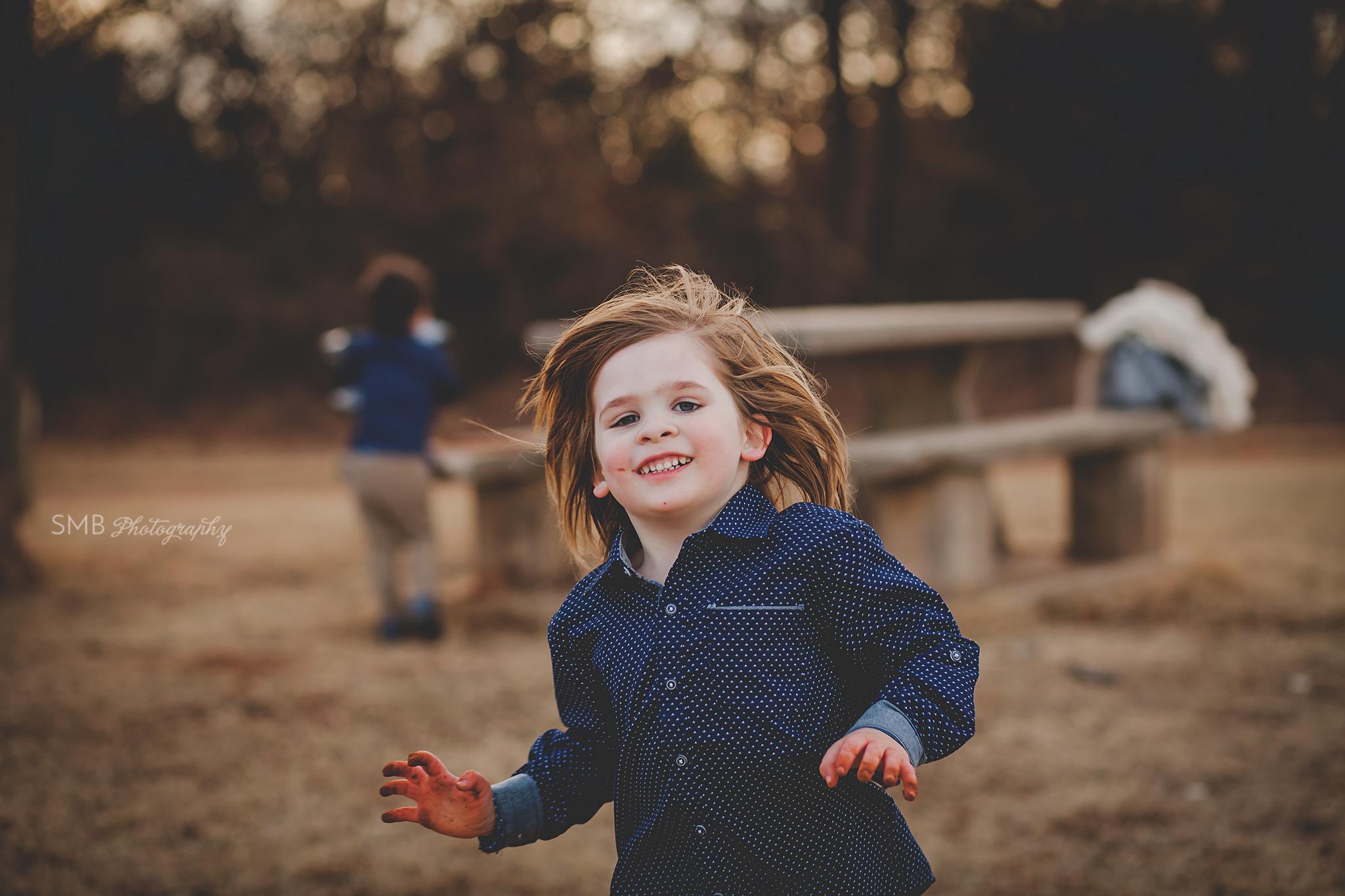 Little boy running having fun