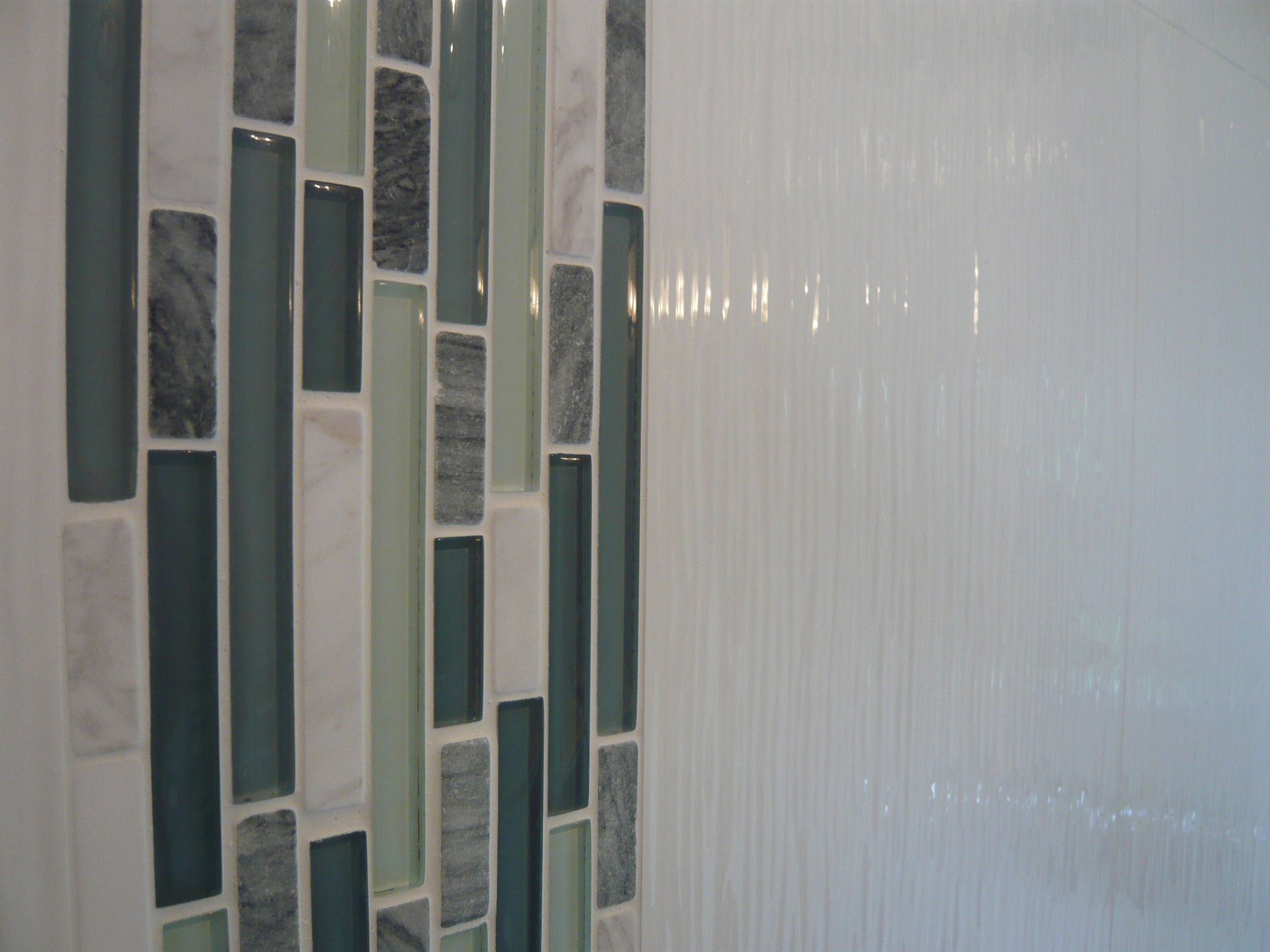 Ribbed White 12x24 Tile with a Listello