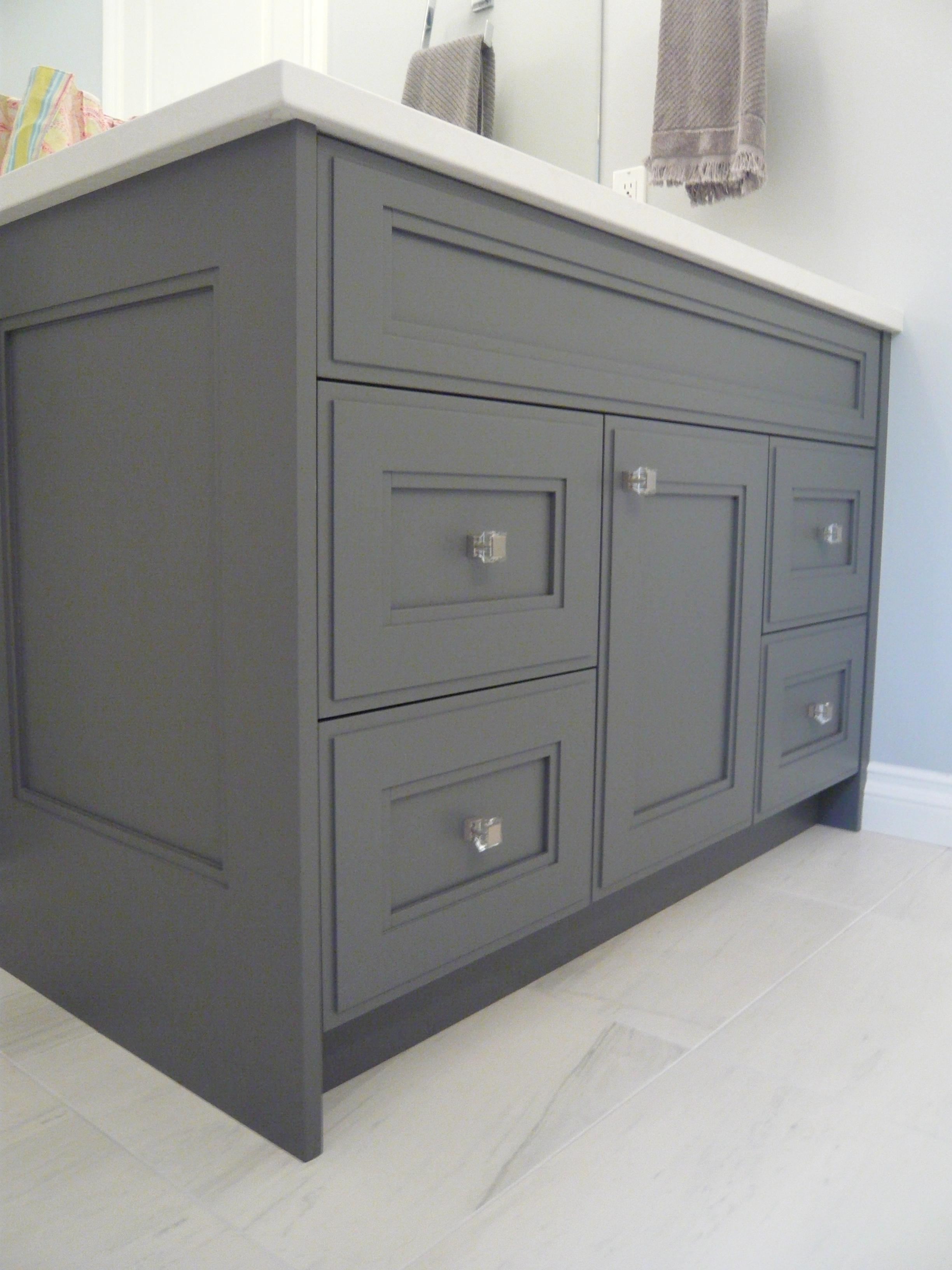 Dark Grey Cabinets Glass Knobs