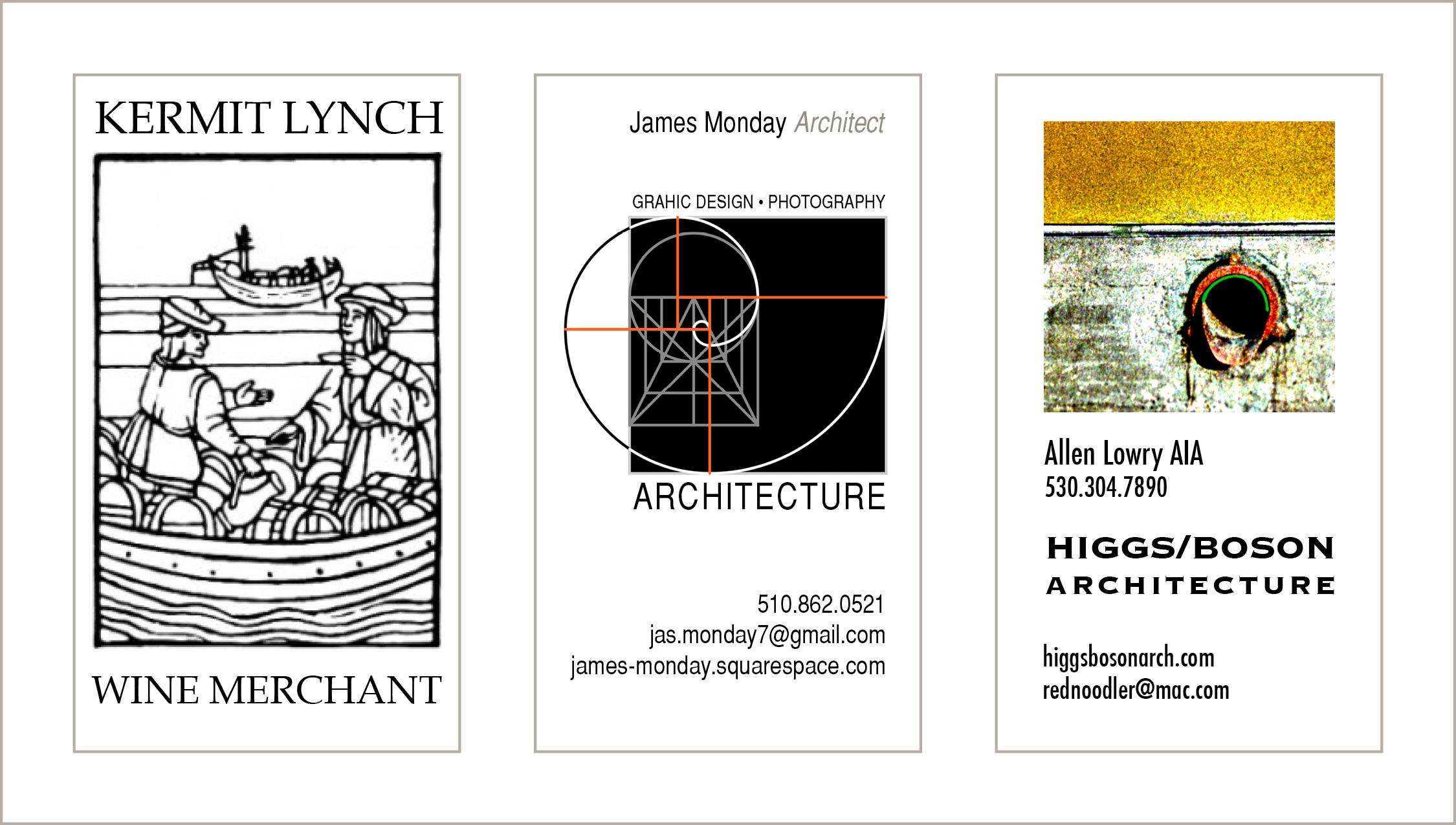 Business Cards   Kermit Lynch, Wine Merchant : James Monday, Architect : Higgs/Bosun Architecture