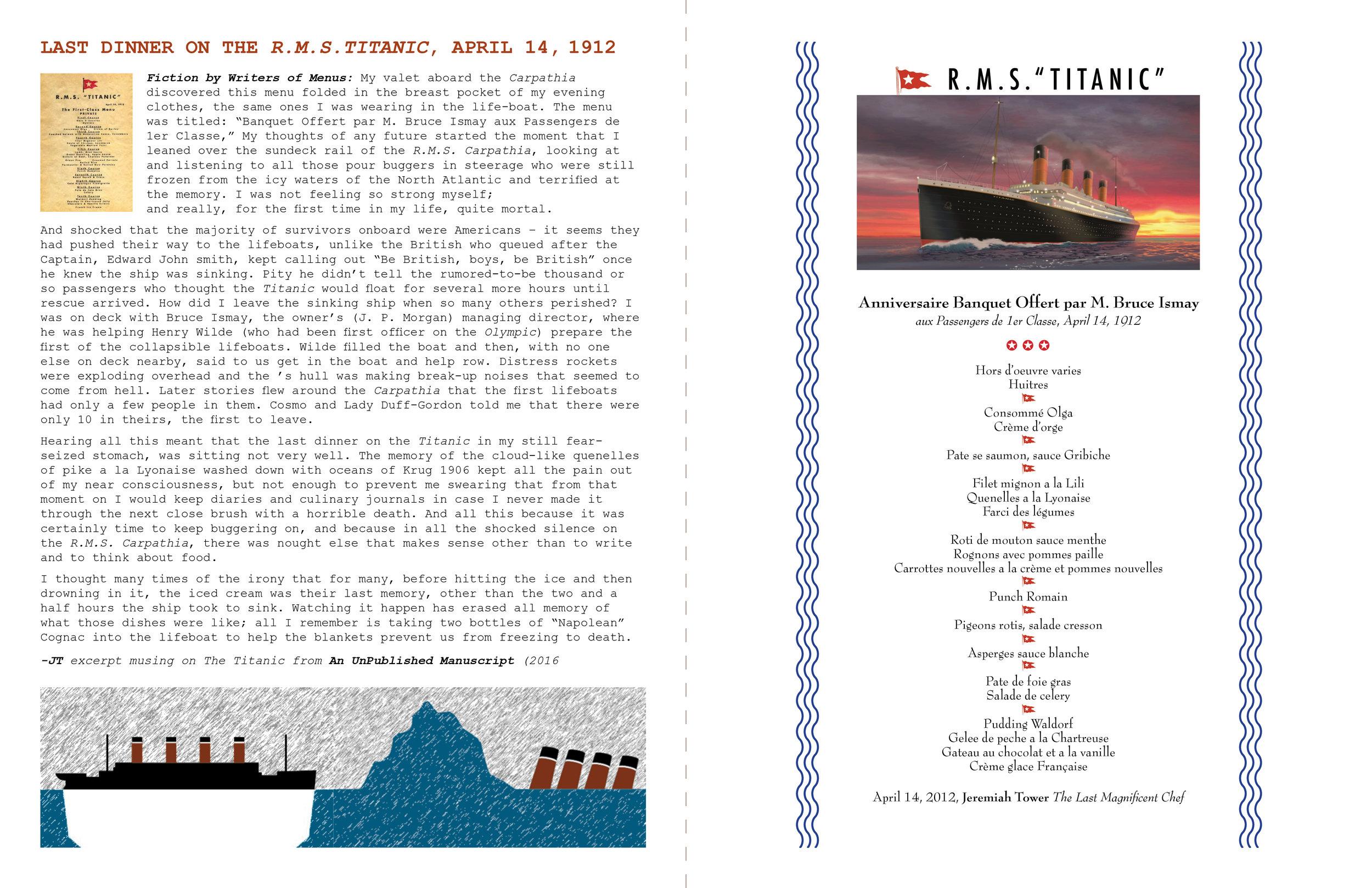 The Language of Menus: Last Dinner on the Titanic