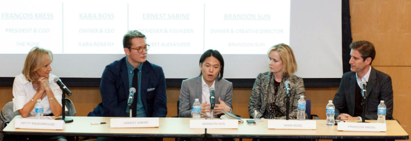 """The Luxury Education Foundation (LEF) and Columbia Business School presented the 9th Annual Luxury Round Table """"Venturing into Luxury: The Trials and Tribulations of Luxury Start-Ups.""""  Left to right:Ketty Maisonrouge, Adjunct Professor at Columbia Business School; Ernest Sabine, Founder at Ernest Alexander ; Brandon Sun, founder at Brandon Sun ; Kara Ross, founder at Kara Ross New York; and François Kress, Global President at Stuart Weitzman ."""