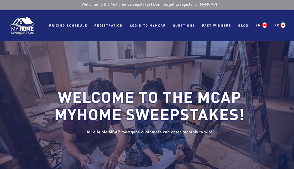 MCAP MyHome Sweepstakes 2019 Site