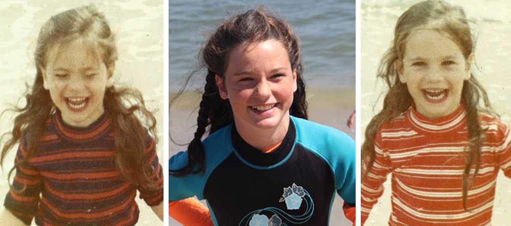 Running out of the water at Coast Guard beach with my sister (1970ish) and my younger daughter Avery in the same spot (2014).