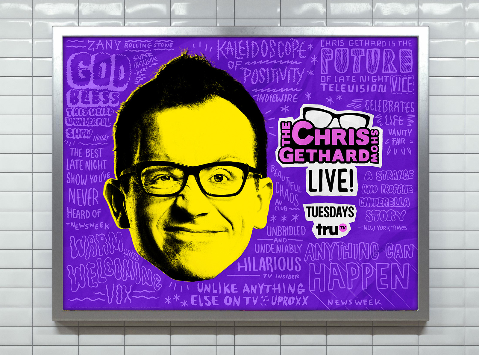 "Chris Gethard Show Season 4 Keyart - Illustrated ""raves"" throughout key art. Used to promote season 4 of The Chris Gethard Show and could be seen in subway stations around NYC and on billboards in LA. Art direction by Kyle Moriwaki."