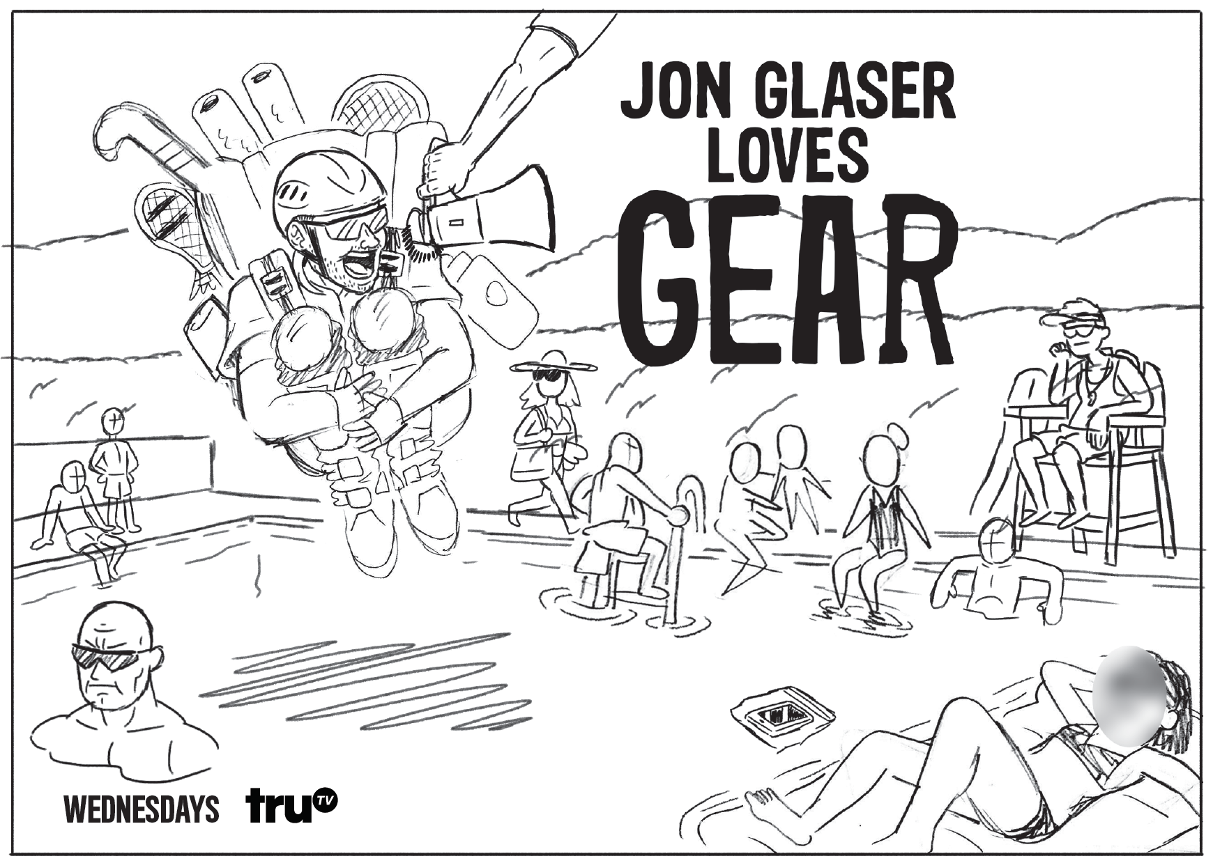 Jon Glaser Loves Gear Key Art Concepts - Tasked with sketching different concepts for show key art. Final art (below) used on subway two-sheets and billboards to advertise the show.