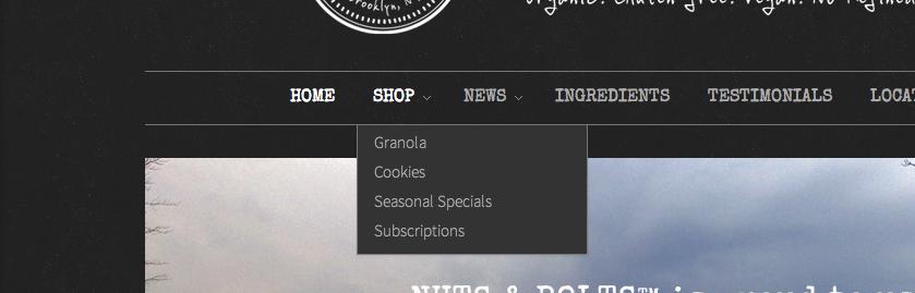 This drop-down menu, which appears upon mouse-over, tells users what kinds of products are offered directly from the homepage, without requiring extra clicks.