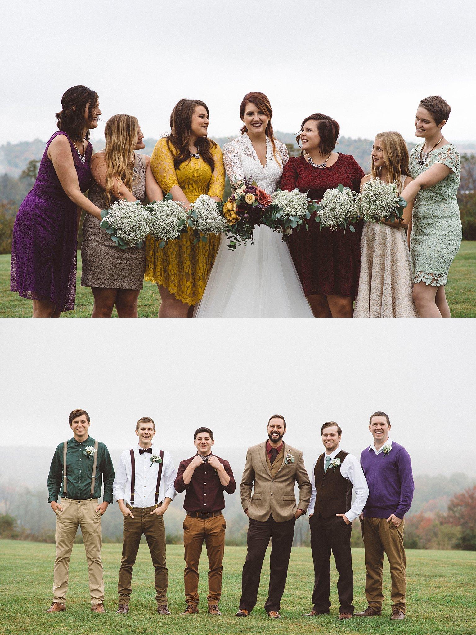 mismatched bridesmaids fall wedding Pittsburgh