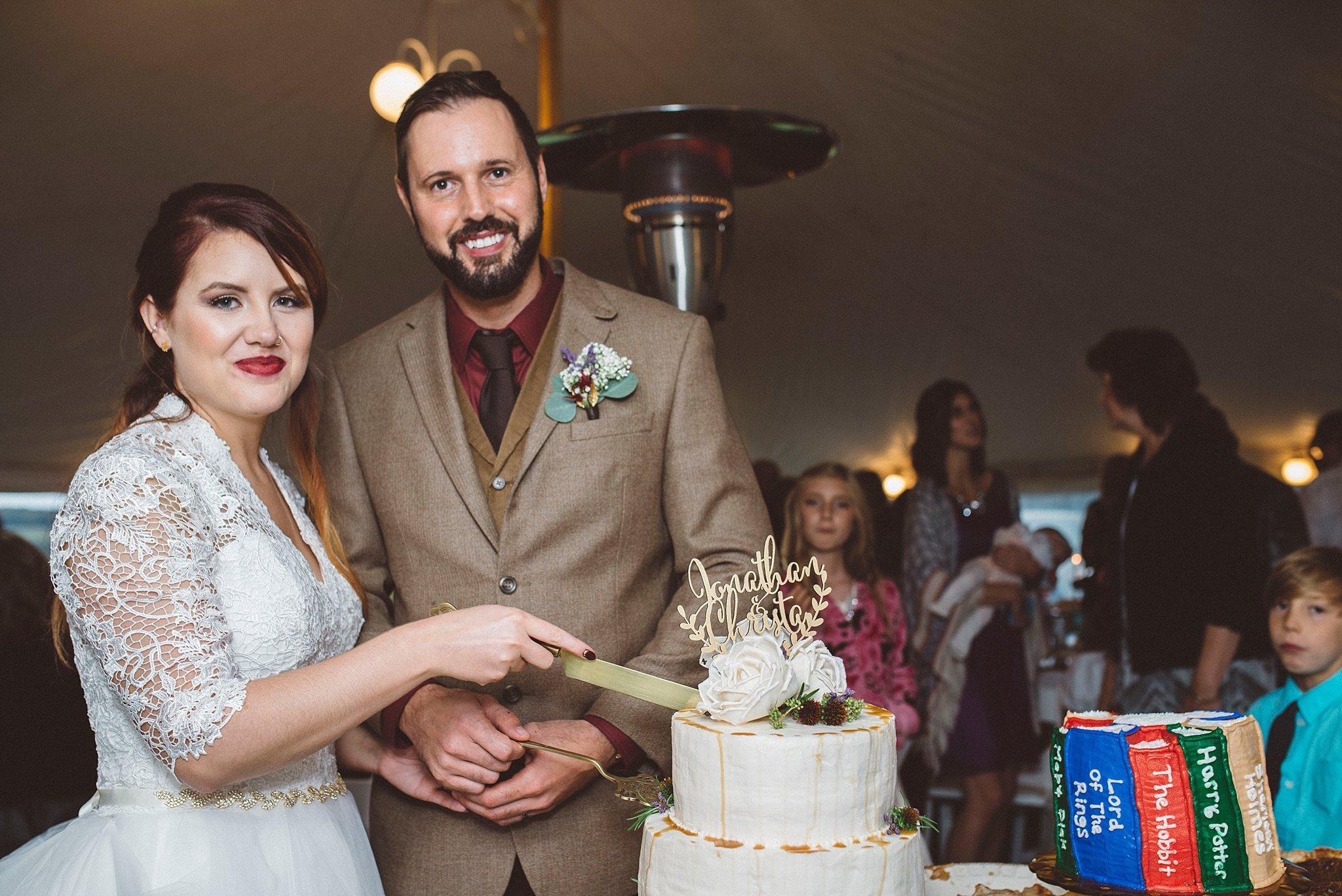 cutting the cake - Pittsburgh wedding