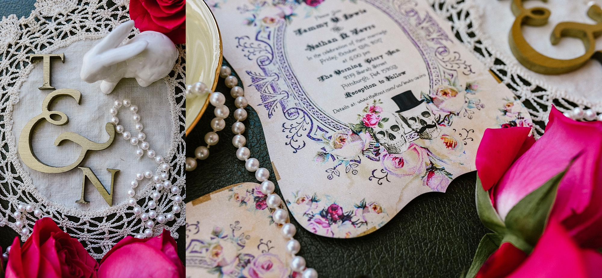 Wedding invitation rabbits skulls